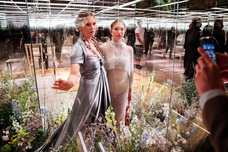 <p>Kate Moss and her daughter Lila on the catwalk at a Fendi fashion show in Paris</p> (AP)