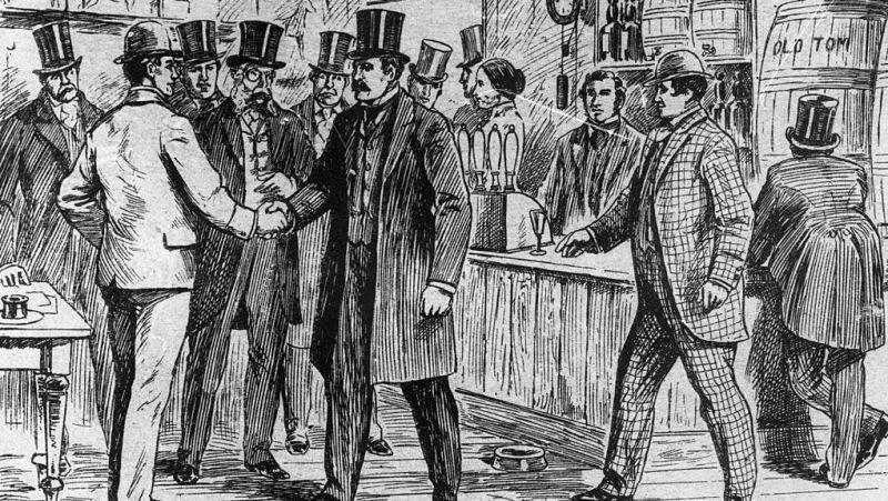 19th century boxers shake hands, illustrating a video game interaction they'll never live to experience themselves.