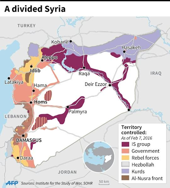 Map showing the latest situation in Syria