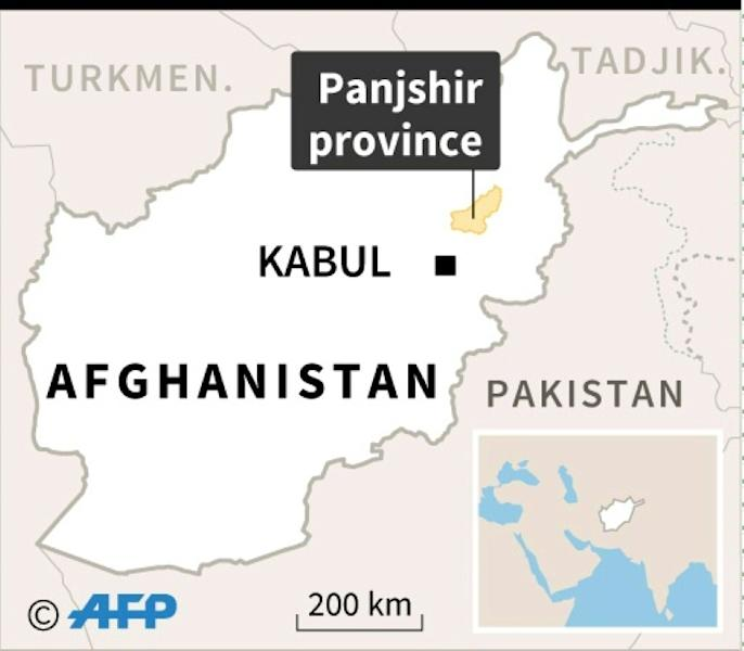 Map of Afghanistan locating the province of Panjshir, where a landslide on Thursday has killed several people and swept away scores of homes