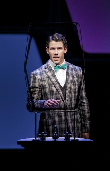 "In this undated publicity image released by The Hartman Group, Nick Jonas performs in a scene from ""How to Succeed in Business Without Really Trying"" at the Al Hirschfeld Theatre in New York. Jonas tried hard but couldn't keep Broadway's ""How to Succeed in Business Without Really Trying"" in business. Producers of the musical said Tuesday they they were reluctantly handing it a pink slip after several months of lackluster box office revenue. Its final performance will be May 20. (AP Photo/The Hartman Group, Joan Marcus)"