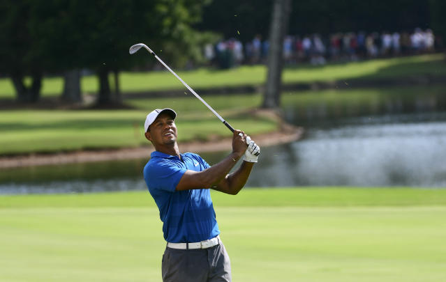 "<a class=""link rapid-noclick-resp"" href=""/pga/players/147/"" data-ylk=""slk:Tiger Woods"">Tiger Woods</a> was unstoppable to open the third round of the Tour Championship. (AP Photo)"