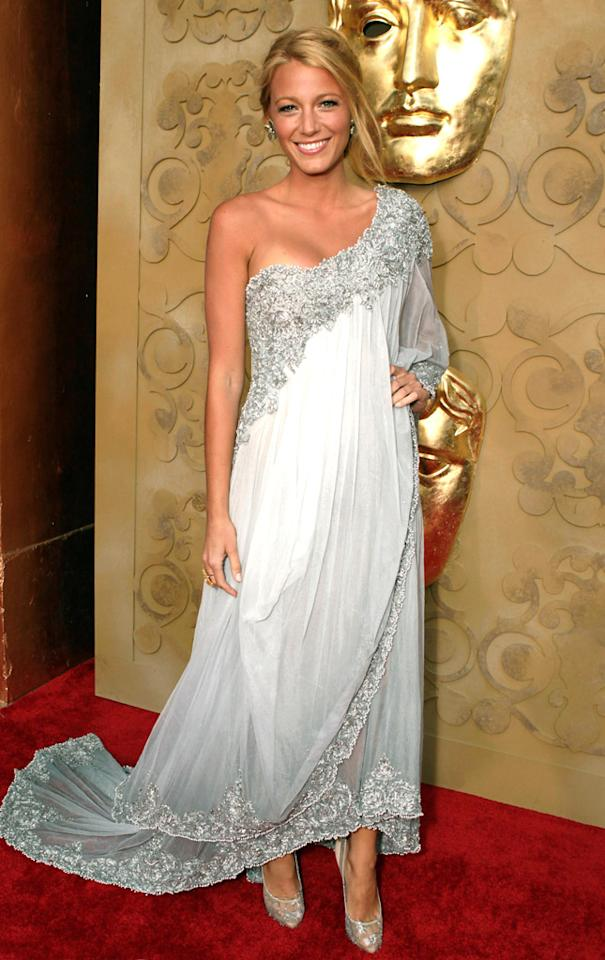 Blake Lively's asymmetrical beaded chiffon Marchesa gown was a clear standout on the red carpet for the BAFTA Brits to Watch event in Los Angeles on July 9, 2011.
