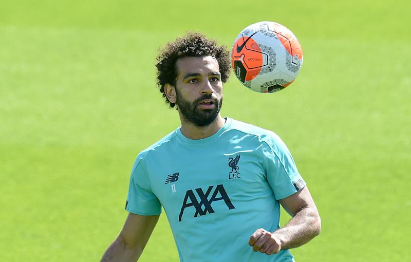 LIVERPOOL, ENGLAND - MAY 27: (THE SUN OUT, THE SUN ON SUNDAY OUT) Mohamed Salah of Liverpool during a training session at Melwood Training Ground on May 27, 2020 in Liverpool, England. (Photo by John Powell/Liverpool FC via Getty Images)