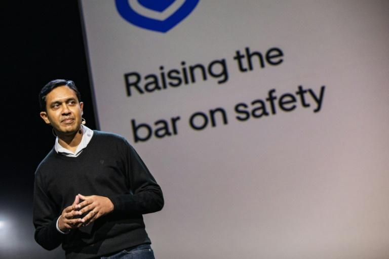 Uber safety product chief Sachin Kansal addresses the audience during an Uber product launch in San Francisco, discussing the upgraded app's security features
