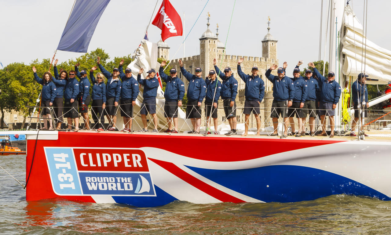 The Great Britain Clipper leads four of the twelve Clipper Round the World Race yachts past the Tower of London during the start of the Clipper Round the World Race at St Katharine Docks, London.