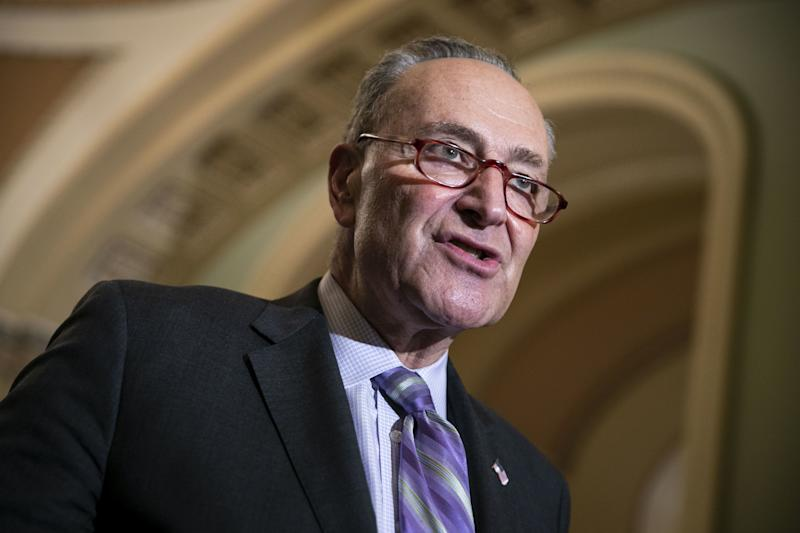 Senate Minority Leader Chuck Schumer, a Democrat from New York, speaks during a news conference following a weekly policy luncheon on Capitol Hill in Washington, D.C., U.S., on Tuesday, Feb. 12, 2019. President Donald Trump is playing down the threat of a second partial government shutdown as Republicans in Congress clear a path for him to accept a deal on border security funding. Photographer: Al Drago/Bloomberg via Getty Images