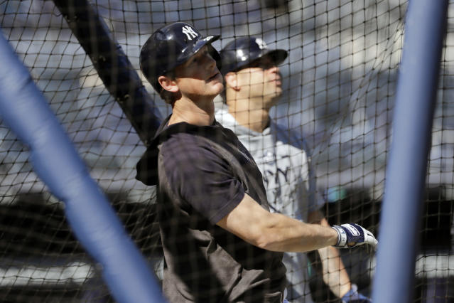 New York Yankees' DJ LeMahieu takes batting practice at Yankee Stadium Thursday, Oct. 10, 2019, New York. The Yankees will play the winner of tonight's Tampa Bay Rays at Houston Astros American League Division Series game in Game 1 of the American League Championship Series on Saturday, Oct. 12 in New York. (AP Photo/Frank Franklin II)