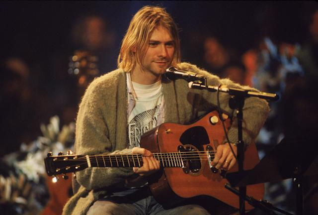 Kurt Cobain (1967 - 1994) nas gravações do 'MTV Unplugged' em 18 de novembro de 1993. (Photo by Frank Micelotta/Getty Images)
