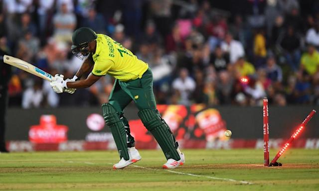 """<span class=""""element-image__caption"""">Beuran Hendricks of bowled first ball by Chris Jordan, who produced a fine display of death bowling.</span> <span class=""""element-image__credit"""">Photograph: Dan Mullan/Getty Images</span>"""