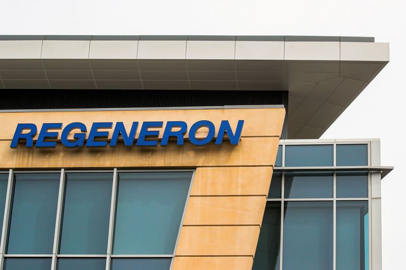 FILE PHOTO: The Regeneron Pharmaceuticals company logo is seen on a building at the company's Westchester campus in Tarrytown