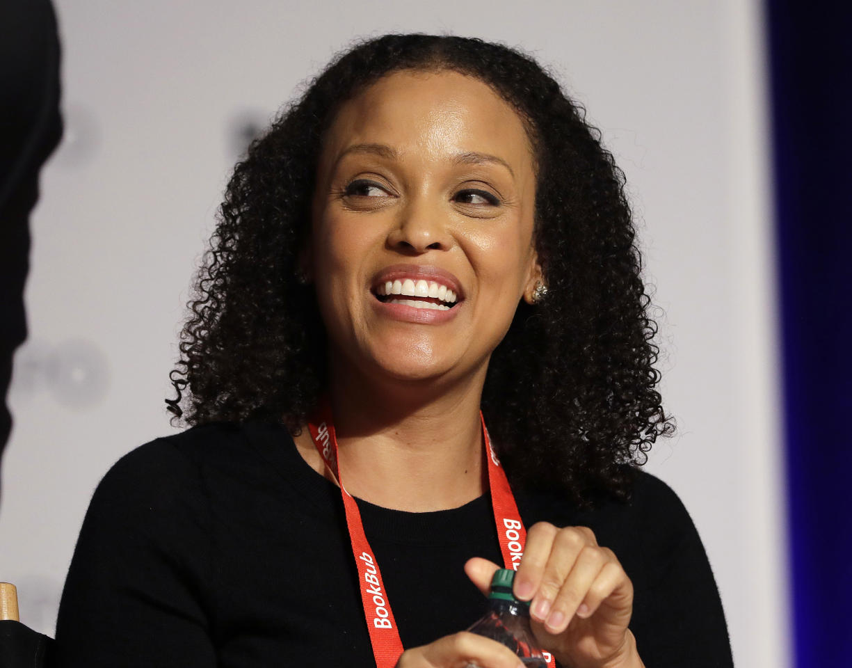 "FILE - In this June 1, 2017, file photo, author Jesmyn Ward speaks at Book Expo America in New York. Ward's ""Sing, Unburied, Sing,"" winner of the National Book Award for fiction, is now a nominee for the National Book Critics Circle prize, announced Monday, Jan. 22, 2018. (AP Photo/Mark Lennihan, File)"