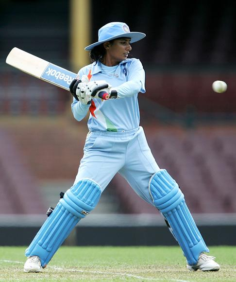 Mithali Raj of India plays a stroke during the second women`s one day international match between the Australian Southern Stars and India at the Sydney Cricket Ground on November 1, 2008 in Sydney, Australia.  (Photo by Robert Gray/Getty Images)