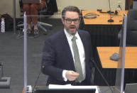 In this image from video, defense attorney Eric Nelson gives closing arguments as Hennepin County Judge Peter Cahill presides Monday, April 19, 2021, in the trial of former Minneapolis police Officer Derek Chauvin at the Hennepin County Courthouse in Minneapolis. Chauvin is charged in the May 25, 2020 death of George Floyd. (Court TV via AP, Pool)