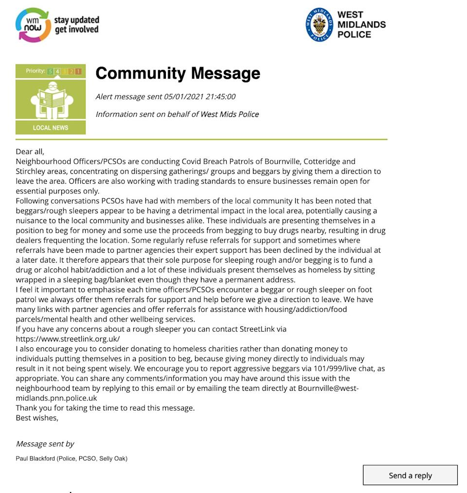 """<strong>A """"community message"""" sent by West Midlands Police.</strong> (Photo: West Midlands Police)"""