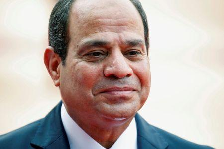 Egypt's President Abdel Fattah al-Sisi looks on during his ceremonial reception in New Delhi