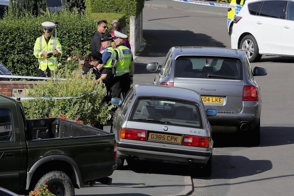 TELFORD, ENGLAND - AUGUST 15:  Police officers work in Meadow Way, Trench, Telford at the scene where former Aston Villa player Dalian Atkinson was tasered by police on August 15, 2016 in Telford, England. Despite receieving treatment from paramedics Atkinson later died after suffering a cardiac arrest on is way to hospital.  (Photo by Christopher Furlong/Getty Images)