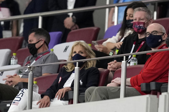 First lady of the United States Jill Biden watches during a women's soccer match between the United States and New Zealand at the 2020 Summer Olympics, Saturday, July 24, 2021, in Saitama, Japan. (AP Photo/Martin Mejia)