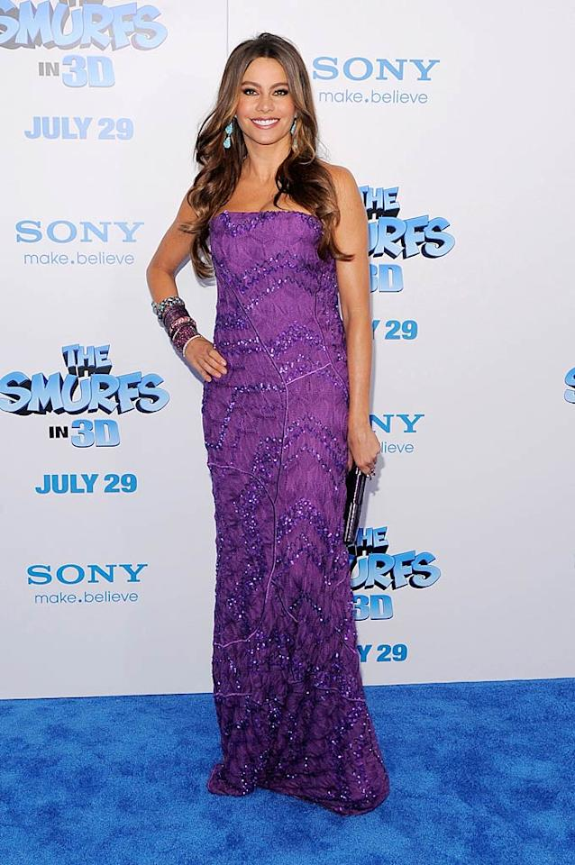 """Modern Family's"" Sofia Vergara oozed glamour upon arriving at the star-studded premiere of ""The Smurfs"" thanks to her purple Missoni column dress and turquoise Lorraine Schwartz earrings. Jemal Countess/<a href=""http://www.gettyimages.com/"" target=""new"">GettyImages.com</a> - July 24, 2011"