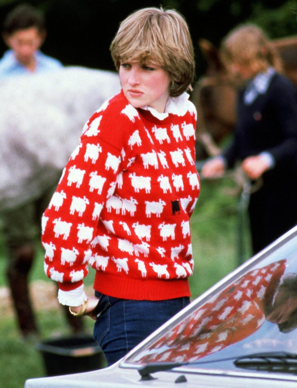 """<p>Princess Diana knew how to send a message through her wardrobe, like her infamous black sheep sweater. But her casual style is perfect for moms on the go, who know the value of layering.</p> <p><strong>Buy It! Warm & Wonderful X Rowing Blazers Women's Sheep Sweater, <a href=""""https://rowingblazers.com/collections/all/products/sheep-sweater-womens"""" rel=""""sponsored noopener"""" target=""""_blank"""" data-ylk=""""slk:$295"""" class=""""link rapid-noclick-resp"""">$295</a></strong></p> <p><strong>Get the Look!<br></strong><strong>Asos Oversized Sheep Sweater, <a href=""""https://www.asos.com/us/asos-design/asos-design-oversized-textured-sweater-with-sheep-design-in-sage-green/prd/22104771"""" rel=""""nofollow noopener"""" target=""""_blank"""" data-ylk=""""slk:$43"""" class=""""link rapid-noclick-resp"""">$43</a><br></strong><strong>Zara Jacquard Knit Sweater, <a href=""""https://www.zara.com/us/en/jacquard-knit-sweater-p04331012.html"""" rel=""""sponsored noopener"""" target=""""_blank"""" data-ylk=""""slk:$50"""" class=""""link rapid-noclick-resp"""">$50</a><br></strong><strong>13th Street Design Crewneck Sweatshirt, <a href=""""https://www.teepublic.com/crewneck-sweatshirt/8690725-the-black-sheep"""" rel=""""sponsored noopener"""" target=""""_blank"""" data-ylk=""""slk:$38"""" class=""""link rapid-noclick-resp"""">$38</a></strong></p>"""