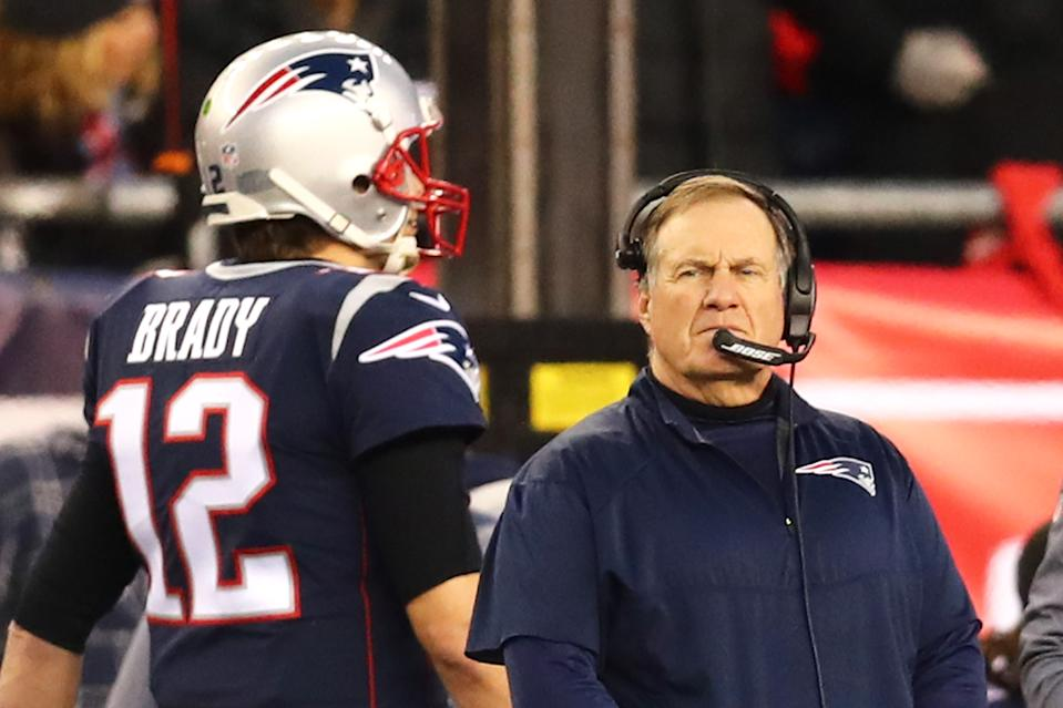"One longtime NFL coach thinks Bill Belichick needed Tom Brady more than Brady needed Belichick — ""hands down."" (Photo by Adam Glanzman/Getty Images)"