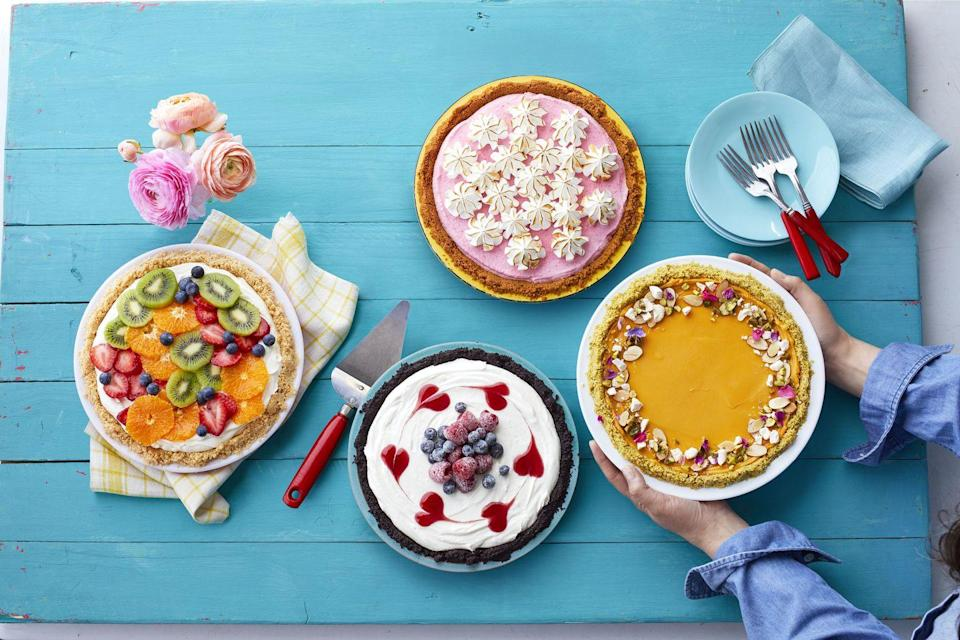 """<p>If there's a dessert that will liven up your Father's Day gathering, it's this mango sorbet pie with a vanilla Oreo — yes, Oreo —crust.</p><p><em><a href=""""https://www.womansday.com/food-recipes/food-drinks/recipes/a58995/mango-sorbet-pie-recipe/"""" rel=""""nofollow noopener"""" target=""""_blank"""" data-ylk=""""slk:Get the recipe from Woman's Day »"""" class=""""link rapid-noclick-resp"""">Get the recipe from Woman's Day »</a></em> </p>"""