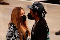 <p>For the date day, Beyoncé wore a black and silver oversized shirt by London-based designer David Koma.</p>