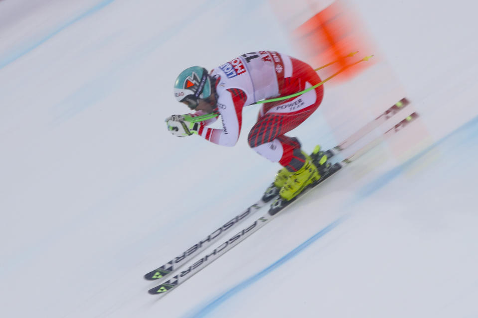 Austria's Vincent Kriechmayr competes during the men's downhill at the alpine ski World Championships in Are, Sweden, Saturday, Feb.9, 2019. (AP Photo/Alessandro Trovati)