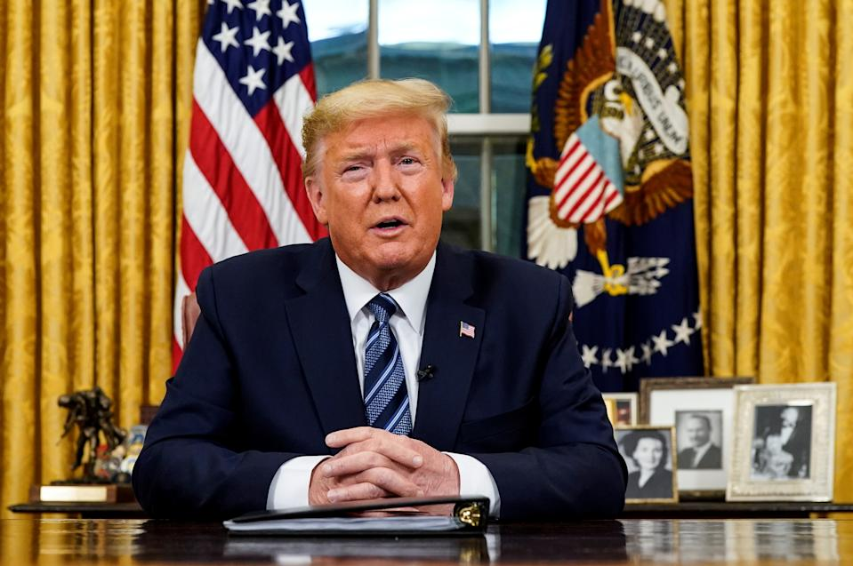 U.S. President Donald Trump speaks about the U.S response to the COVID-19 coronavirus pandemic during an address to the nation from the Oval Office of the White House in Washington, U.S., March 11, 2020. Doug Mills/Pool via REUTERS