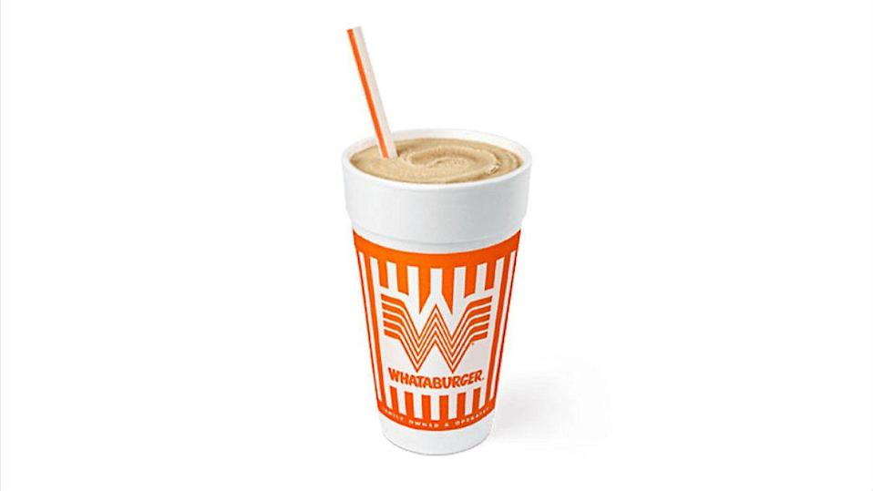 """<p><strong>Official Menu Description: """"</strong>Whataburger Shakes contain between 430-860 calories, depending on your choice of sizes."""" - <a href=""""https://whataburger.com/home"""" rel=""""nofollow noopener"""" target=""""_blank"""" data-ylk=""""slk:Whataburger"""" class=""""link rapid-noclick-resp"""">Whataburger</a></p><p><strong>Verdict:</strong> Now we're reaching a new standard. Whataburger is an expert of rotating seasonal flavors that don't disappoint. The only drawback is their permanent flavors only come in in vanilla, strawberry and chocolate and their seasonal flavors aren't widely available during peak periods. If you catch them on a good month and in certain states, you can get flavors like Dr Pepper, salted caramel and root beer. These shakes would be higher on the list if you could get the seasonal flavors outside of a few southern states and if said flavor packed more of a punch: """"Good for a fast food joint. However , their new Dr.Pepper shake taste nothing like Dr.Pepper; it taste like a vanilla chocolate malt candy bar..."""" said a <a href=""""https://www.yelp.com/biz/whataburger-altus"""" rel=""""nofollow noopener"""" target=""""_blank"""" data-ylk=""""slk:Yelp review"""" class=""""link rapid-noclick-resp"""">Yelp review</a>. </p>"""