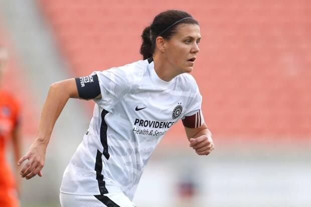 Canada's Christine Sinclair, seen in this file photo from July, became only the third NWSL player (behind Sam Kerr and Lynn Williams) to reach the 50-regular season goal plateau during the Portland Thorns' 5-0 thrashing of the Chicago Red Stars on Sunday.  (Maddie Meyer/Getty Images - image credit)