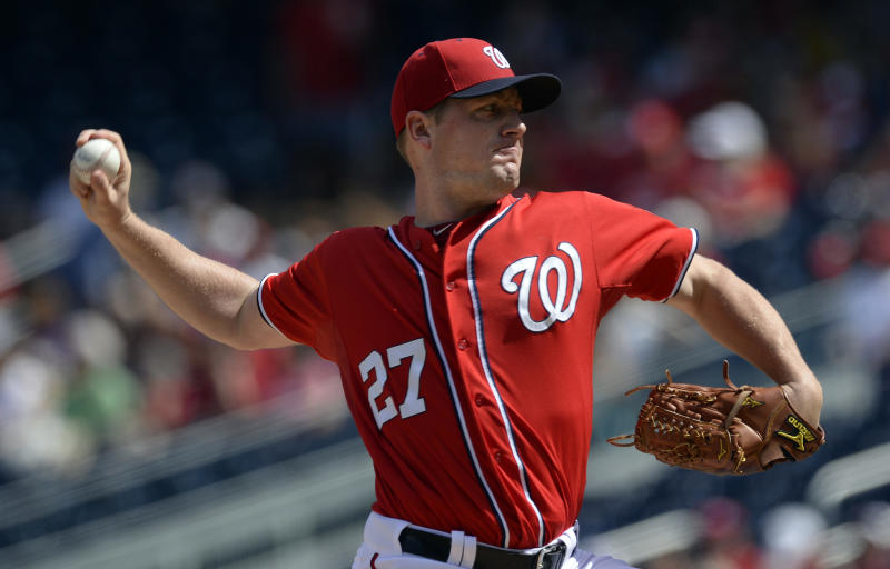 Washington Nationals starting pitcher Jordan Zimmermann delivers against the Philadelphia Phillies during the first inning of their baseball game at Nationals Park in Washington, Sunday, Sept. 15, 2013. (AP Photo/Susan Walsh)