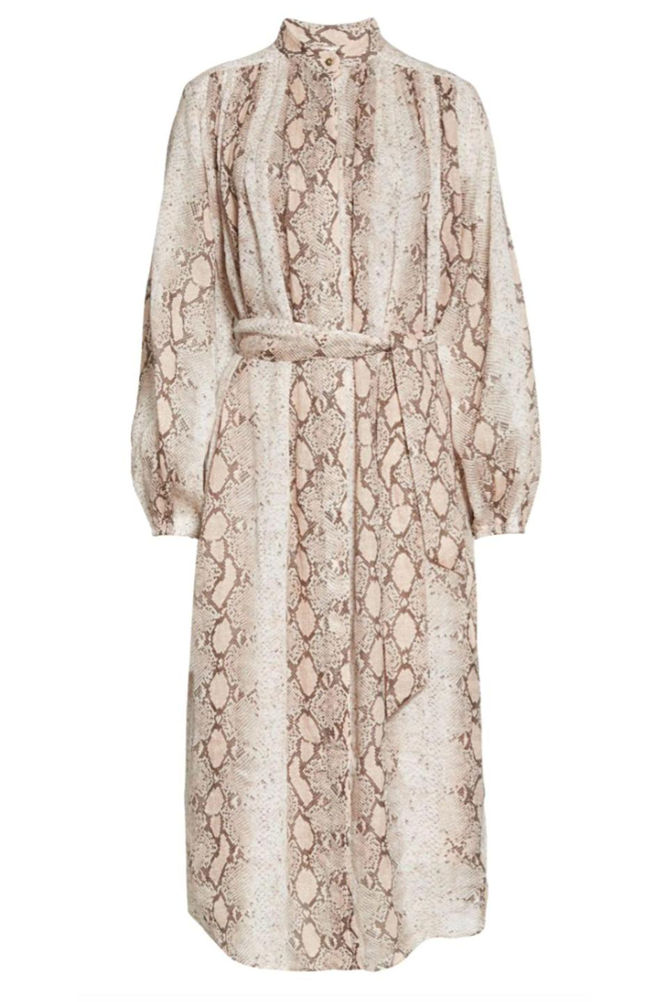 "<p><strong>Zimmermann</strong></p><p>nordstrom.com</p><p><strong>$695.00</strong></p><p><a href=""https://go.redirectingat.com?id=74968X1596630&url=https%3A%2F%2Fwww.nordstrom.com%2Fs%2Fzimmermann-bellitude-snake-print-long-sleeve-shirtdress%2F5594517&sref=https%3A%2F%2Fwww.townandcountrymag.com%2Fstyle%2Ffashion-trends%2Fg35206164%2Fbest-shirt-dress-styles%2F"" rel=""nofollow noopener"" target=""_blank"" data-ylk=""slk:Shop Now"" class=""link rapid-noclick-resp"">Shop Now</a></p><p>Animal-print fanatics will love this neutral pattern. </p>"