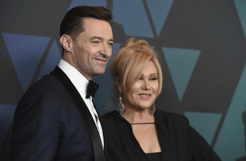 Hugh Jackman, left, and Deborra-lee Furness arrive at the Governors Awards on Sunday, Nov. 18, 2018, at the Dolby Theatre in Los Angeles. (Photo by Jordan Strauss/Invision/AP)