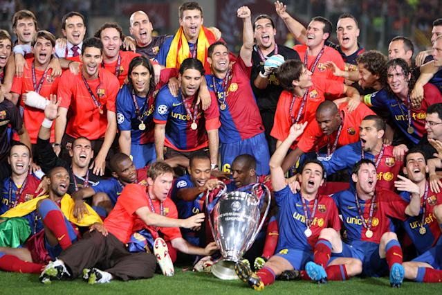 Barcelona's 2008-09 team raised the Champions League, La Liga and Copa del Rey trophies, and now they're the winners of our Best Team Ever bracket. (Photo by Nick Potts - PA Images/PA Images via Getty Images)
