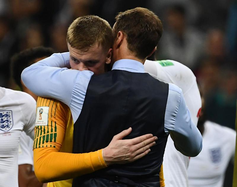 Goalkeeper Jordan Pickford in tears following the defeat (AFP/Getty Images)