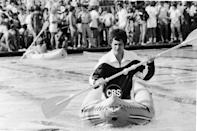 <p>David Letterman competes in a kayak race during the <em>Battle of The Network Stars</em> in Malibu, California, 1978.</p>