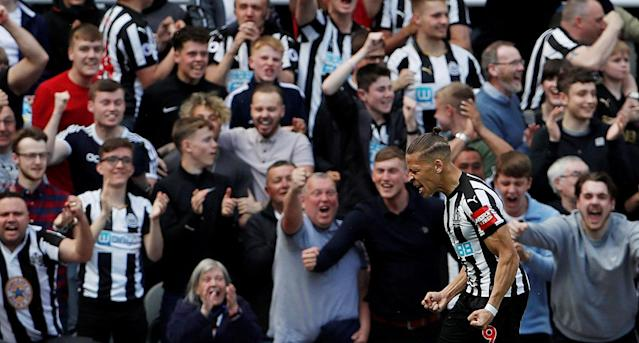 "Soccer Football - Premier League - Newcastle United vs Chelsea - St James' Park, Newcastle, Britain - May 13, 2018 Newcastle United's Dwight Gayle celebrates scoring their first goal Action Images via Reuters/Lee Smith EDITORIAL USE ONLY. No use with unauthorized audio, video, data, fixture lists, club/league logos or ""live"" services. Online in-match use limited to 75 images, no video emulation. No use in betting, games or single club/league/player publications. Please contact your account representative for further details. TPX IMAGES OF THE DAY"