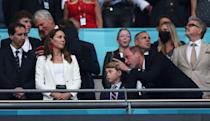 """<p>The Duchess of Cambridge sported the English soccer team's colors while <a href=""""https://www.townandcountrymag.com/society/tradition/a36992134/prince-george-kate-middleton-william-european-championship-final-2021-photos/"""" rel=""""nofollow noopener"""" target=""""_blank"""" data-ylk=""""slk:attending the England vs. Italy championship match"""" class=""""link rapid-noclick-resp"""">attending the England vs. Italy championship match</a>. She chose a white blazer, white top, and bright red beaded earrings, <a href=""""https://www.harpersbazaar.com/celebrity/latest/a36998153/kate-middleton-red-beaded-earrings-soccer-game/"""" rel=""""nofollow noopener"""" target=""""_blank"""" data-ylk=""""slk:reportedly"""" class=""""link rapid-noclick-resp"""">reportedly</a> from brand Blaiz.</p><p><a class=""""link rapid-noclick-resp"""" href=""""https://blaiz.co.uk/collections/earrings/products/blaiz-red-beaded-earrings-bbz8-r"""" rel=""""nofollow noopener"""" target=""""_blank"""" data-ylk=""""slk:Shop the Earrings"""">Shop the Earrings</a></p>"""
