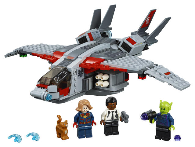 The $29.99 set includes a Quinjet and minifigures of Captain Marvel, Nick Fury, Talos and Goose the cat. (Photo: Lego)