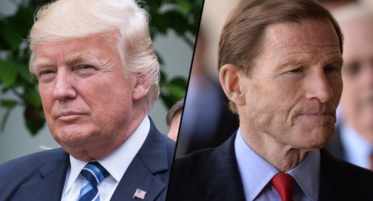 President Donald Trump, left, and Sen. Richard Blumenthal, D-Conn. (Photos: Cheriss May/NurPhoto via Getty Images, RJ Sangosti/The Denver Post via Getty Images)