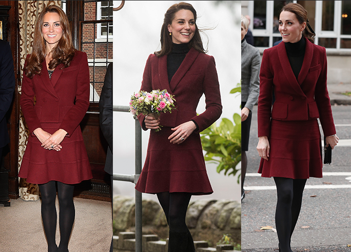 <p>Kate Middleton is the queen of repeating outfits—a move that signals practicality and frugality, which aren't adjectives one usually associates with the monarchy. Hey, when you find something as good as this burgundy set, you gotta wear it more than once.</p>