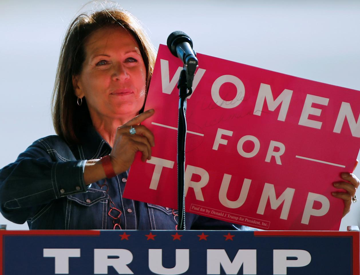Former U.S. Representative Michele Bachmann (R-MN) speaks at a rally for Republican presidential nominee Donald Trump prior to his arrival in a cargo hangar at Minneapolis Saint Paul International Airport in Minneapolis, Minnesota, U.S. November 6, 2016. REUTERS/Jonathan Ernst