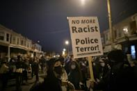 Demonstrators gather in protest near the location where Walter Wallace, Jr. was killed by two police officers on October 27, 2020 in Philadelphia, Pennsylvania