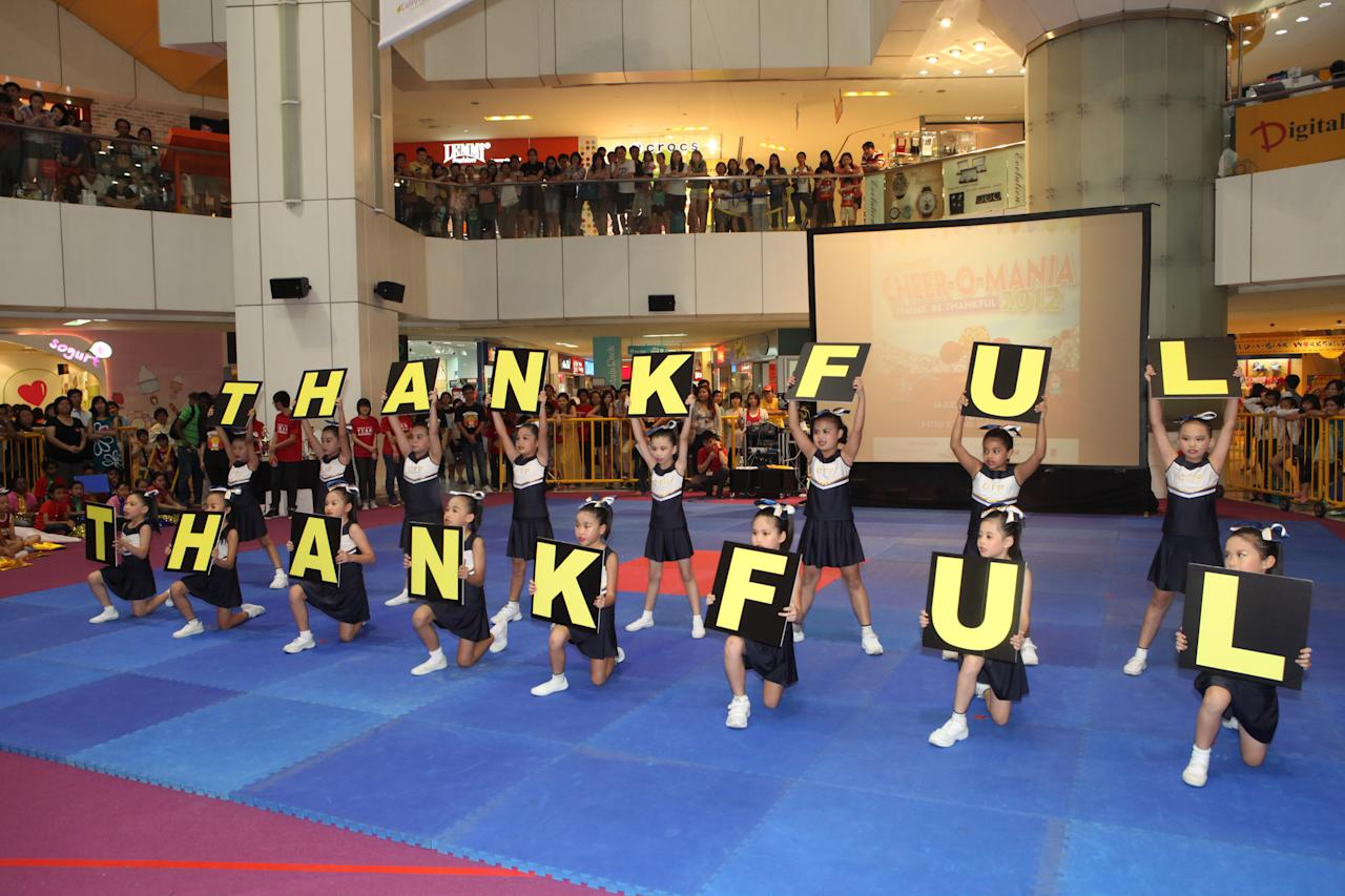 Clementi Primary School's cheerleading team, Unicorn shows the crowd at United Square how to be thankful.