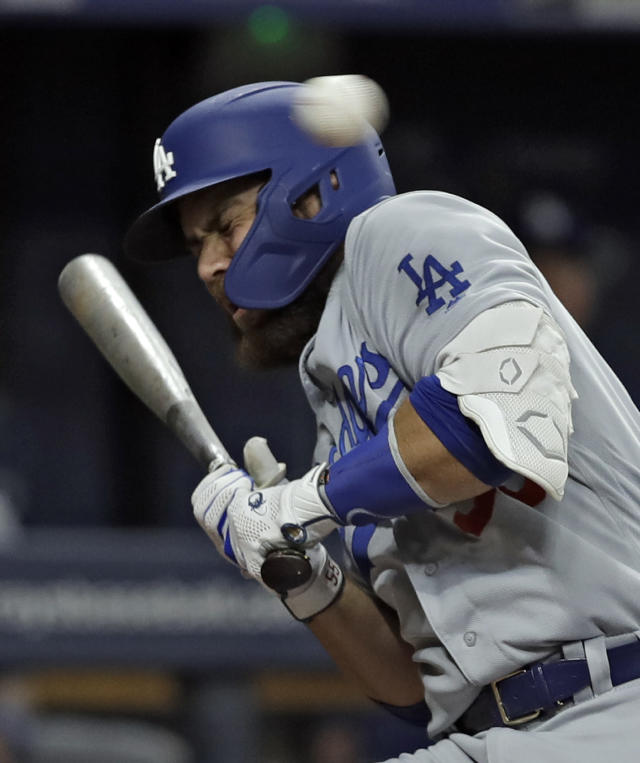 Los Angeles Dodgers' Russell Martin ducks away from an inside pitch by Tampa Bay Rays' Yonny Chirinos during the fourth inning of a baseball game Wednesday, May 22, 2019, in St. Petersburg, Fla. (AP Photo/Chris O'Meara)