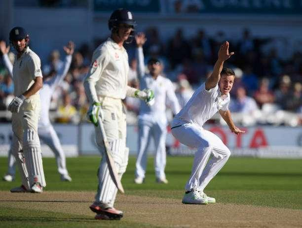 NOTTINGHAM, ENGLAND - JULY 16: South Africa bowler Morne Morkel appeals for the wicket of Alastair Cook which is overturned on review during day three of the 2nd Investec Test match between England and South Africa at Trent Bridge on July 16, 2017 in Nottingham, England. (Photo by Stu Forster/Getty Images)