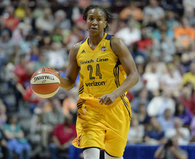 "Three years after retiring from the WNBA, <a class=""link rapid-noclick-resp"" href=""/olympics/rio-2016/a/1128518/"" data-ylk=""slk:Tamika Catchings"">Tamika Catchings</a> will appear on ""American Ninja Warrior"" next month. (AP/Jessica Hill)"