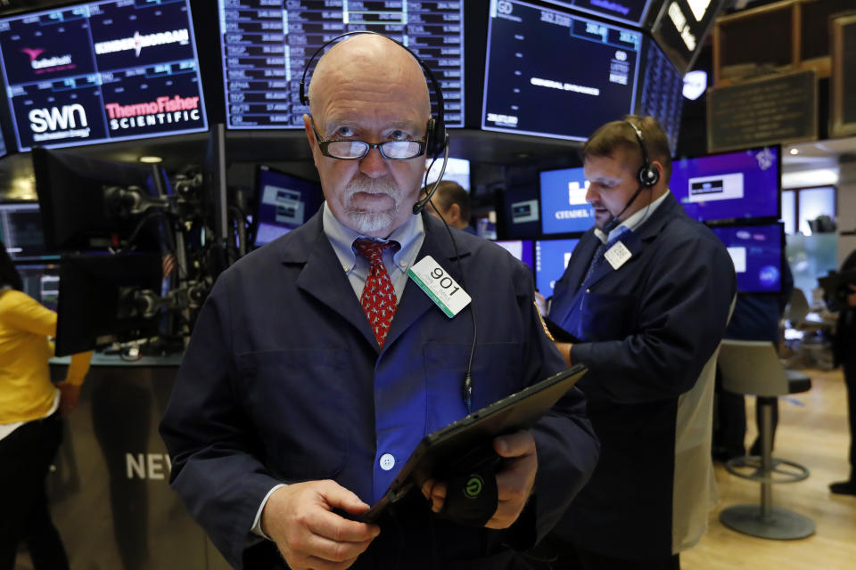 <p> FILE - In this May 30, 2019, file photo trader John Doyle works on the floor of the New York Stock Exchange. U.S. stocks headed broadly higher in early trading Tuesday, June 4, on Wall Street after comments from Mexico's foreign minister injected some optimism into a developing trade dispute. (AP Photo/Richard Drew, File) </p>