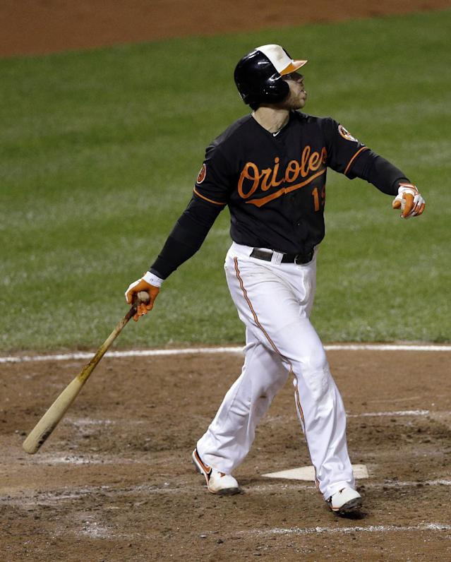 Baltimore Orioles' Chris Davis watches his solo home run in the sixth inning of a baseball game against the Boston Red Sox, Friday, Sept. 27, 2013, in Baltimore. (AP Photo/Patrick Semansky)